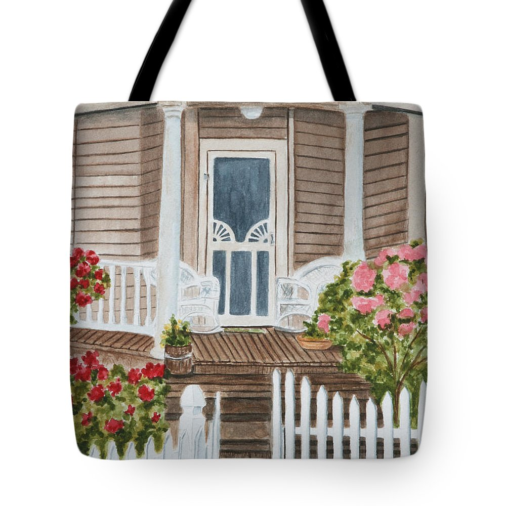 Architecture Tote Bag featuring the painting Welcome by Regan J Smith