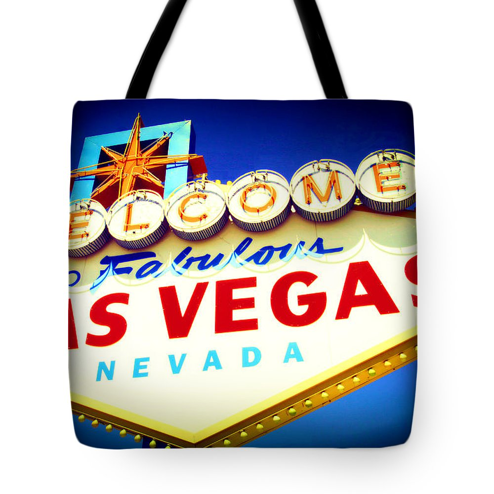 Las Vegas Sign Tote Bag featuring the mixed media Welcome To Fabulous Las Vegas by Michelle Dallocchio