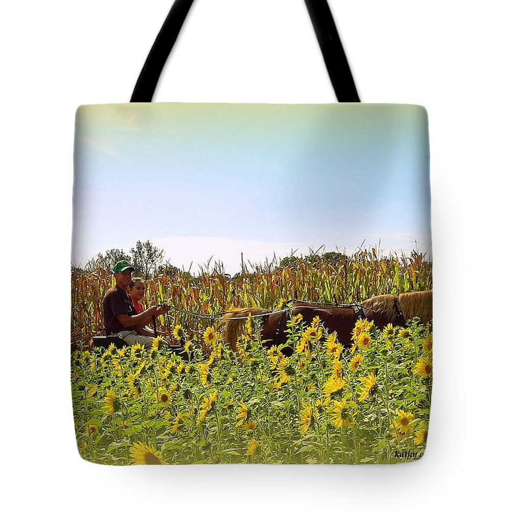 Sunflowers Tote Bag featuring the photograph Welcome To Gorman Farm In Evandale Ohio by Kathy Barney