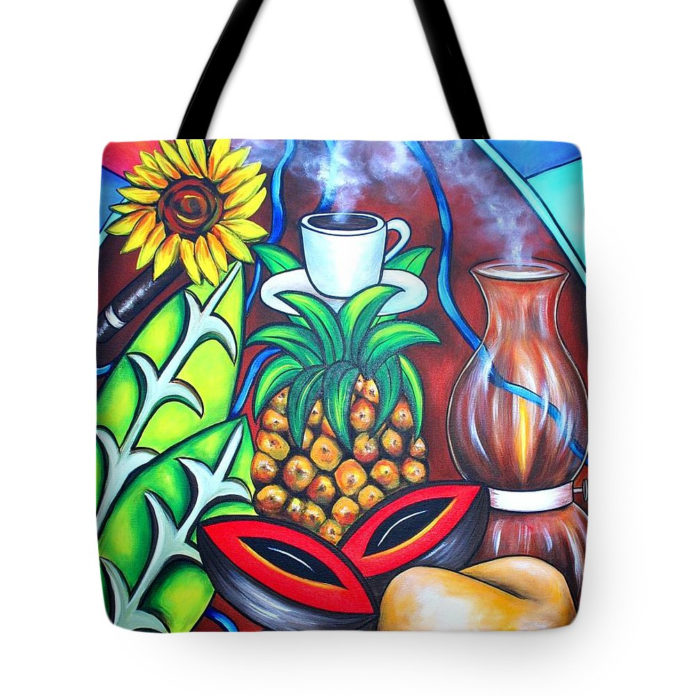 Cuban Paintings Tote Bag featuring the painting Welcome To Here And Now by Annie Maxwell