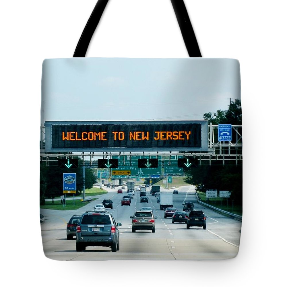 Road Tote Bag featuring the photograph Welcome To New Jersey by Zina Stromberg