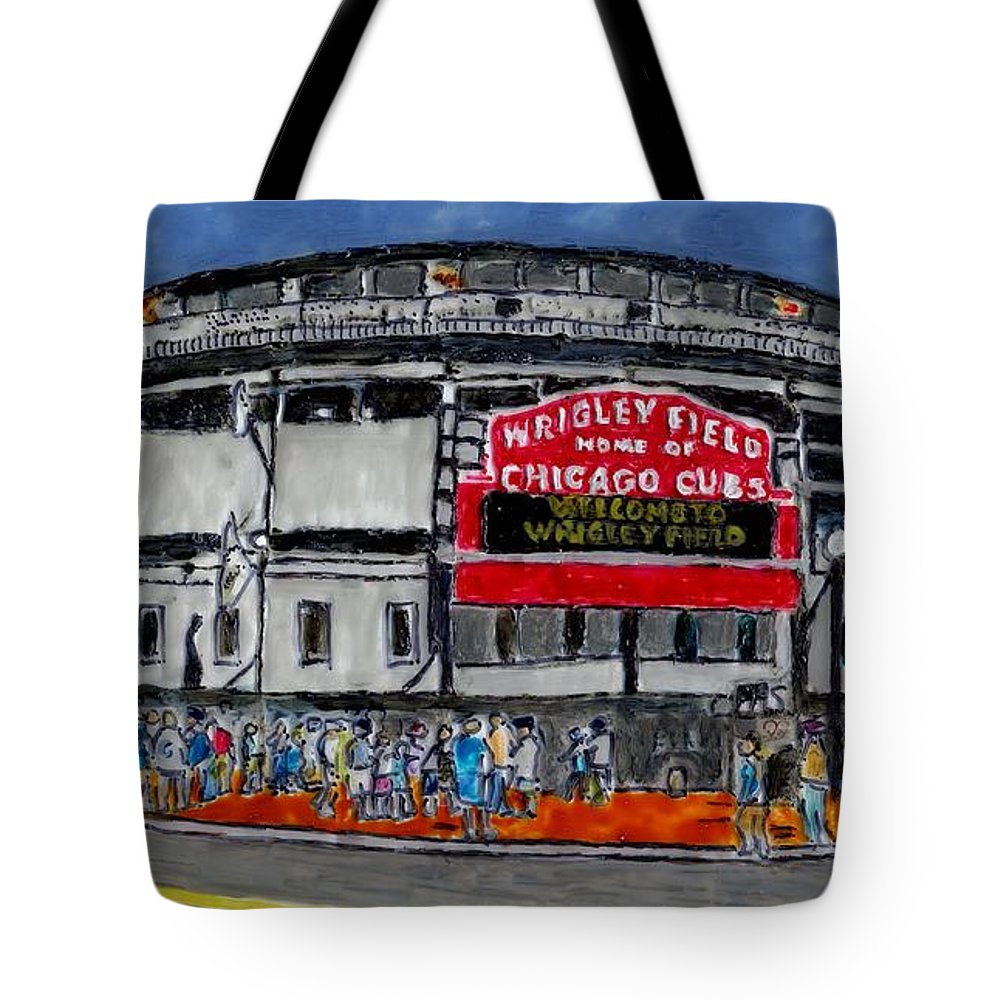Cubs Tote Bag featuring the painting Welcome To Wrigley Field by Phil Strang