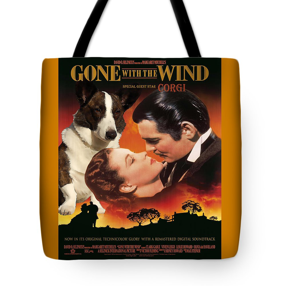 Welsh Corgi Cardigan Tote Bag featuring the painting Welsh Corgi Cardigan Art Canvas Print - Gone With The Wind Movie Poster by Sandra Sij