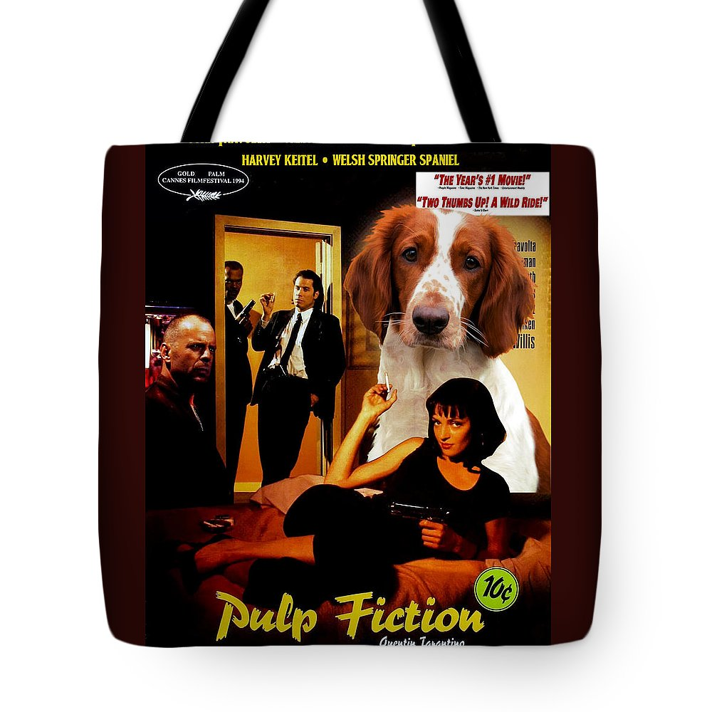Springer Spaniel Tote Bag featuring the painting Welsh Springer Spaniel Art Canvas Print - Pulp Fiction Movie Poster by Sandra Sij