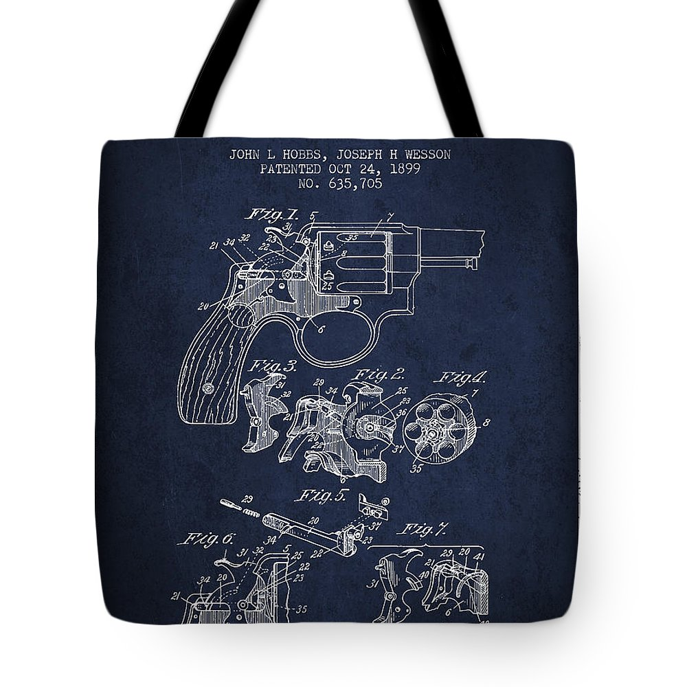 Revolver Tote Bag featuring the digital art Wesson Hobbs Revolver Patent Drawing From 1899 - Blue by Aged Pixel
