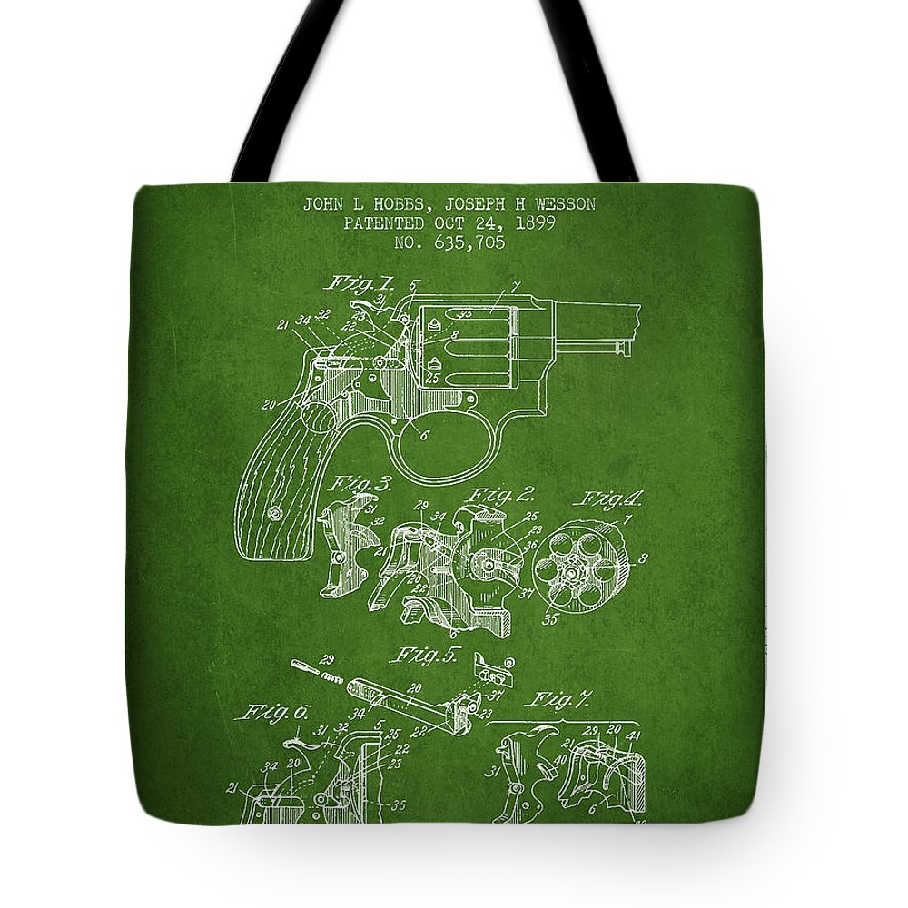 Revolver Tote Bag featuring the digital art Wesson Hobbs Revolver Patent Drawing From 1899 - Green by Aged Pixel
