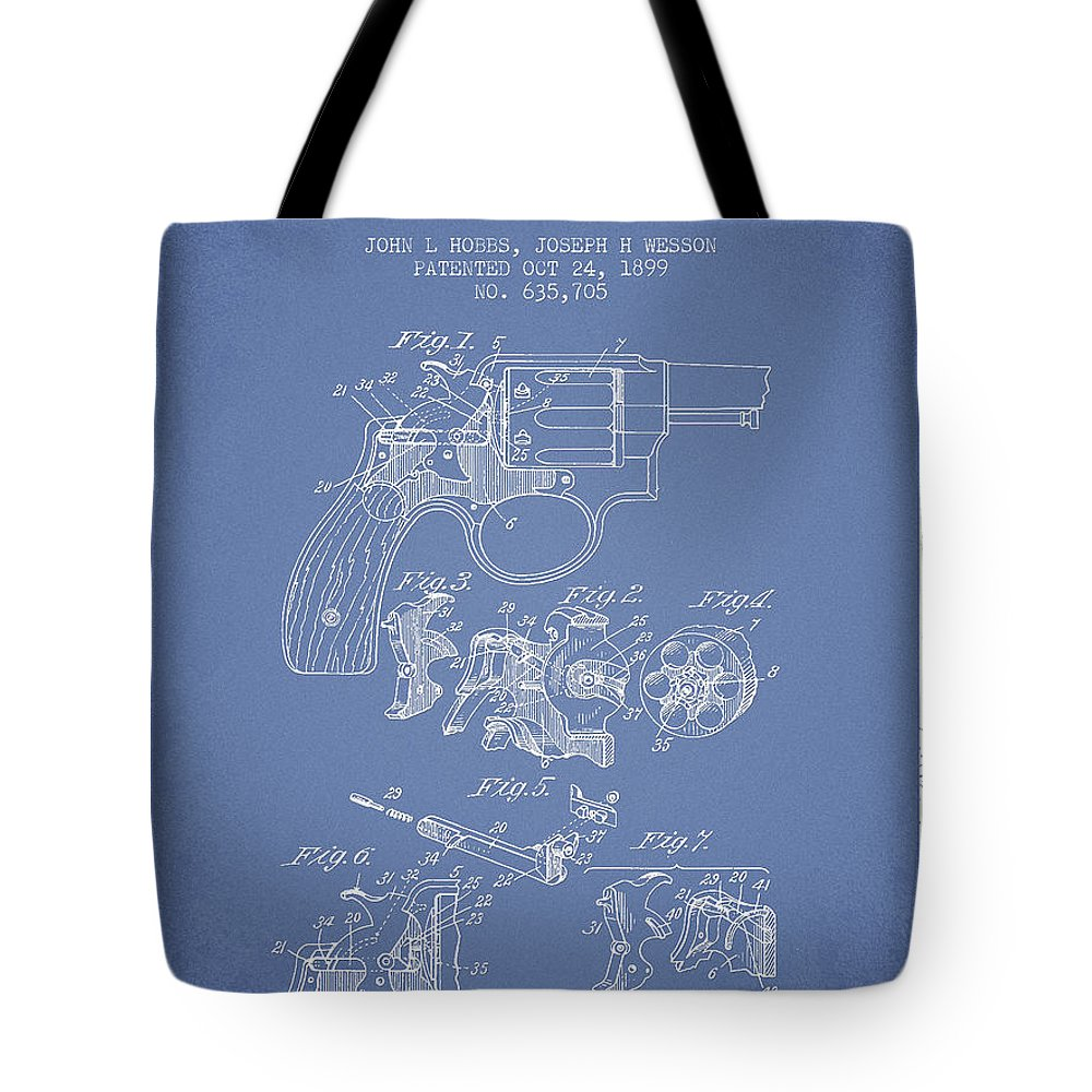 Revolver Tote Bag featuring the digital art Wesson Hobbs Revolver Patent Drawing From 1899 - Light Blue by Aged Pixel