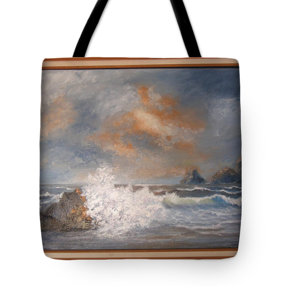 Seascape Tote Bag featuring the painting West Coast Seascape by Mark Perry