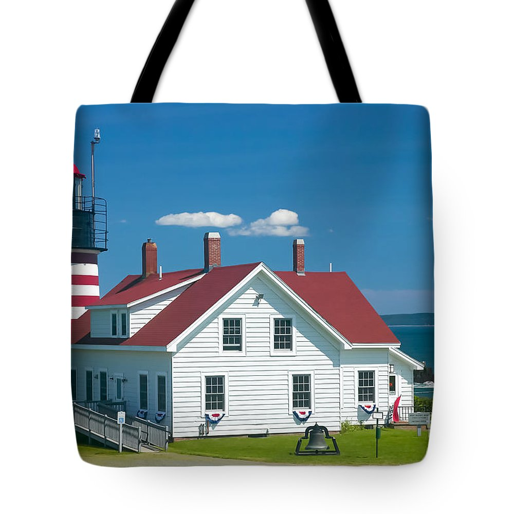 Clarence Holmes Tote Bag featuring the photograph West Quoddy Head Light by Clarence Holmes