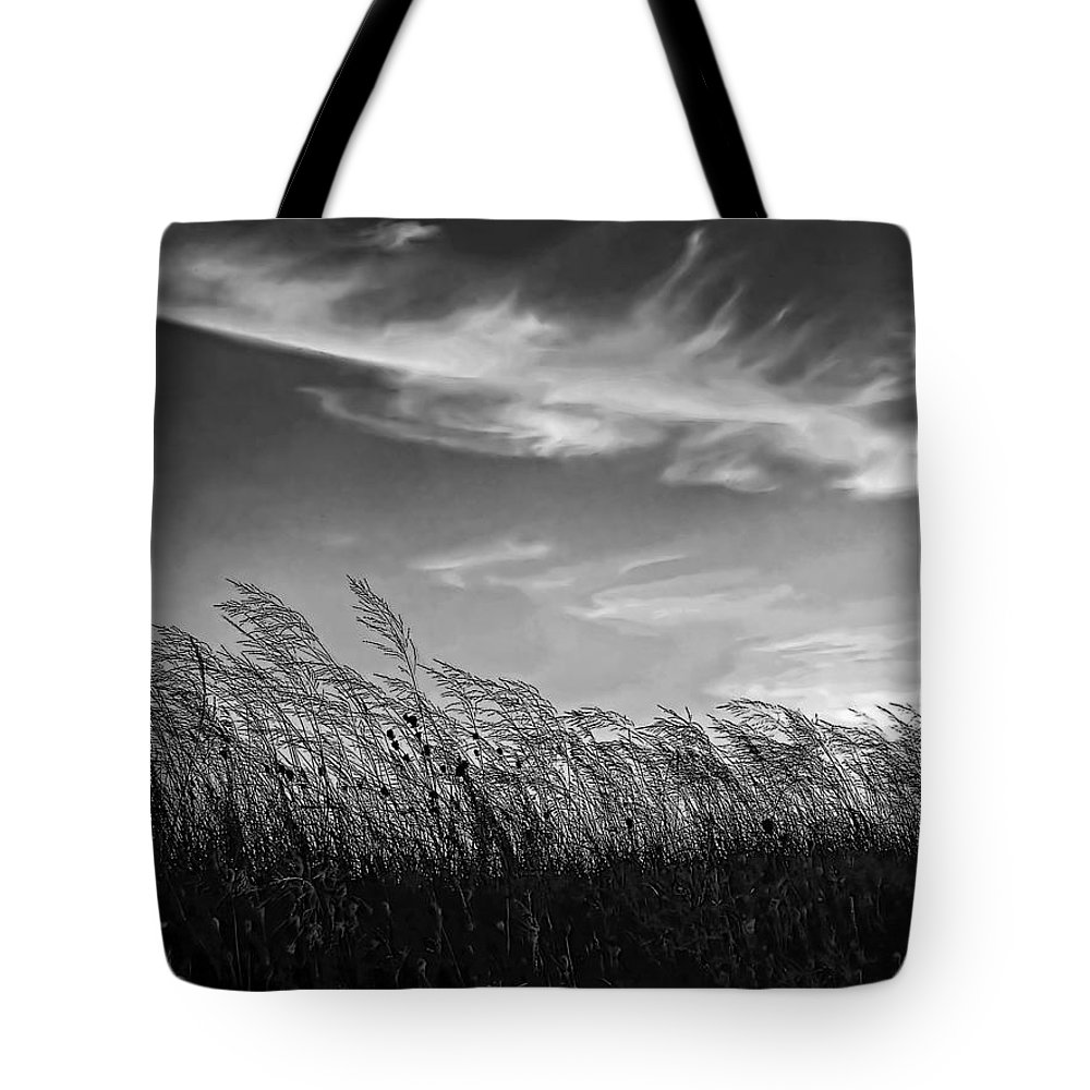 Evening Tote Bag featuring the photograph West Wind Bw by Steve Harrington