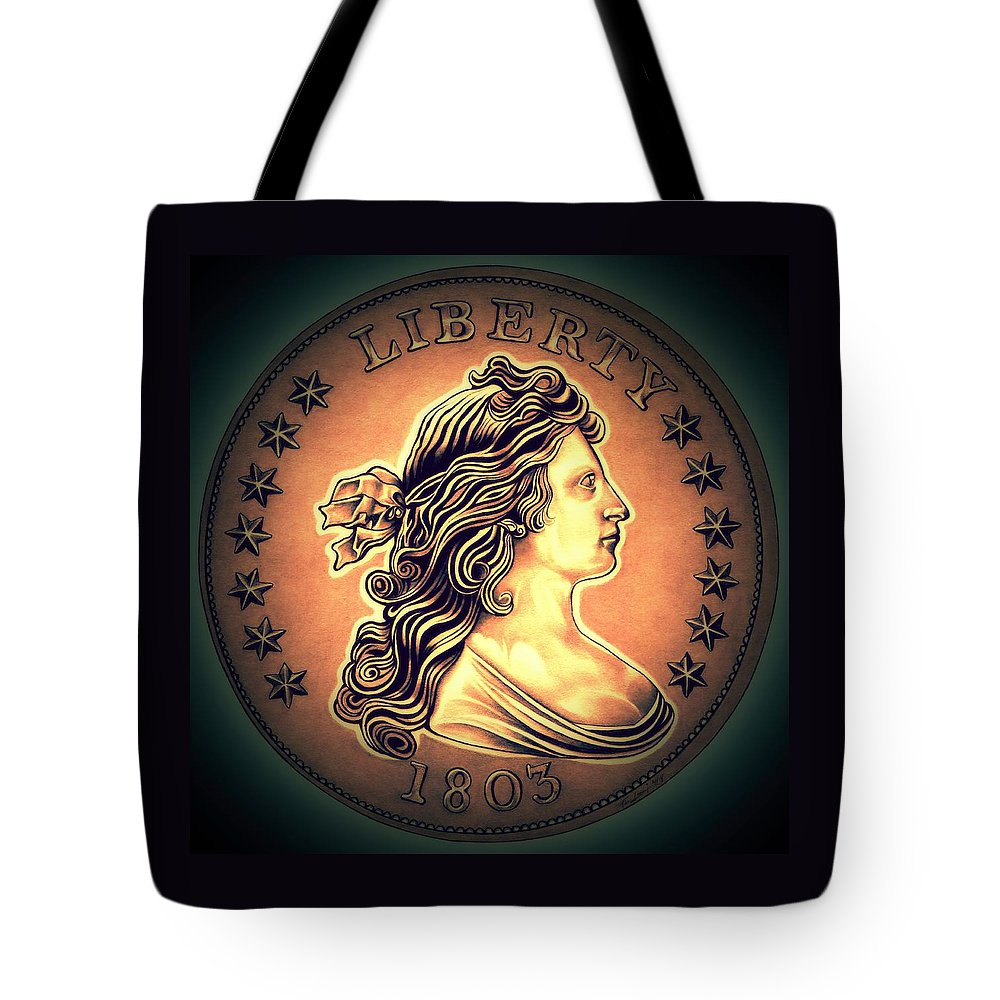 Draped Bust Liberty Dollar Tote Bag featuring the drawing Western Draped Bust Liberty Dollar by Fred Larucci