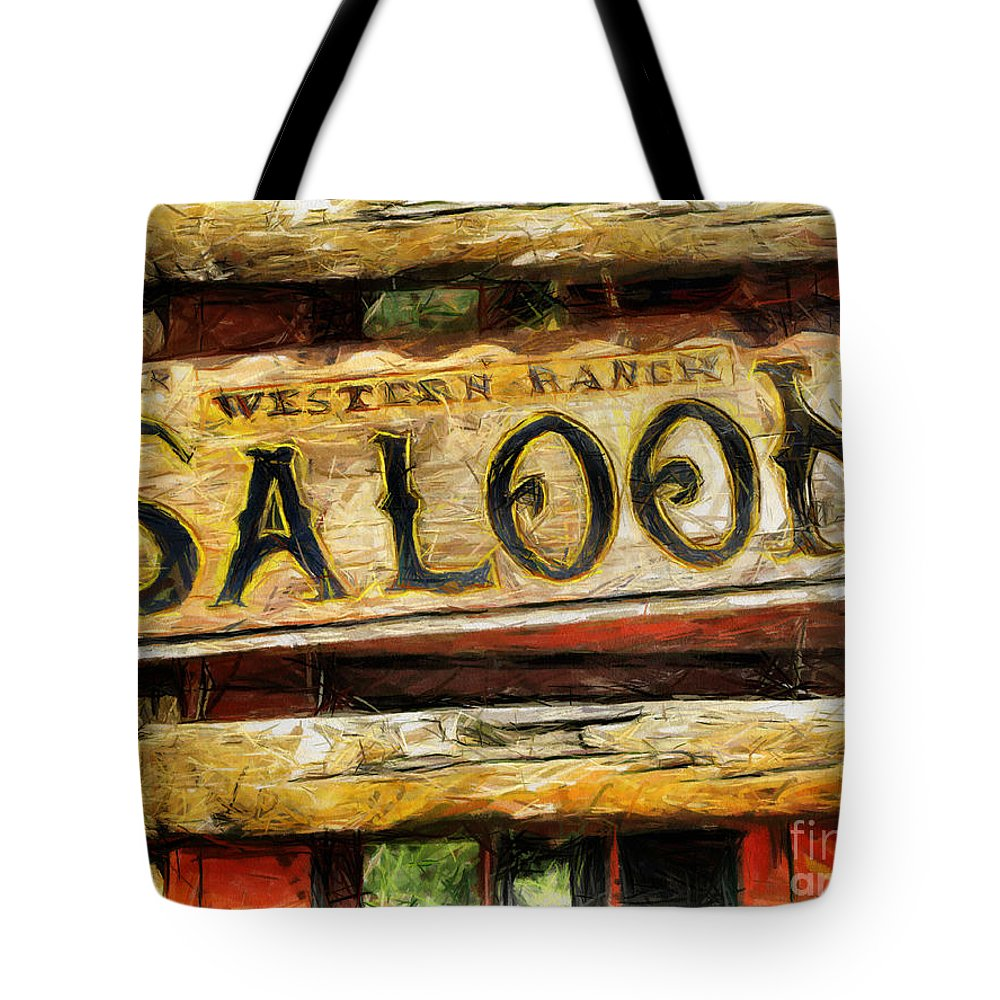 Saloon Tote Bag featuring the drawing Western Saloon Sign - Drawing by Daliana Pacuraru