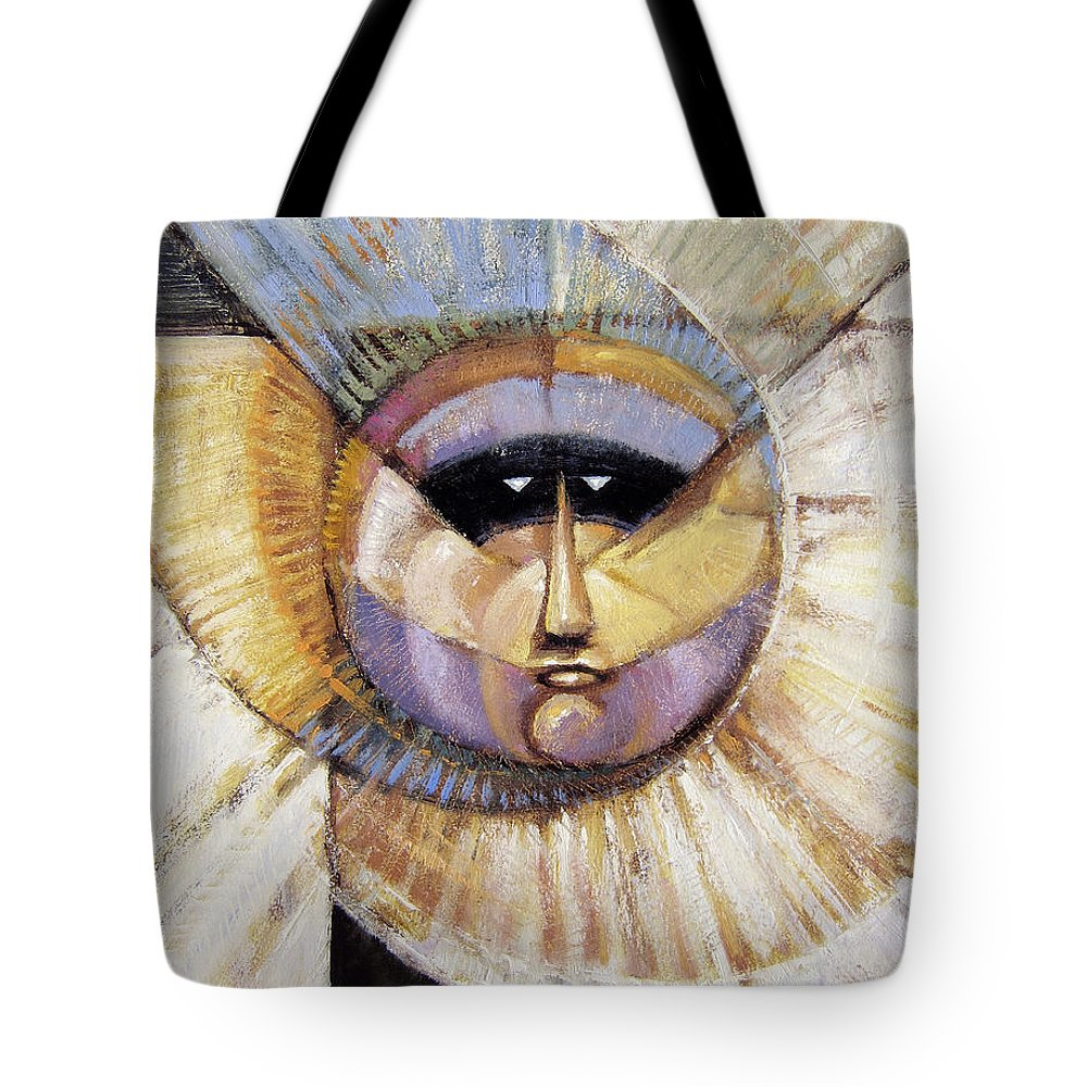 Mask Tote Bag featuring the painting Western Solarmask by Randy Wollenmann
