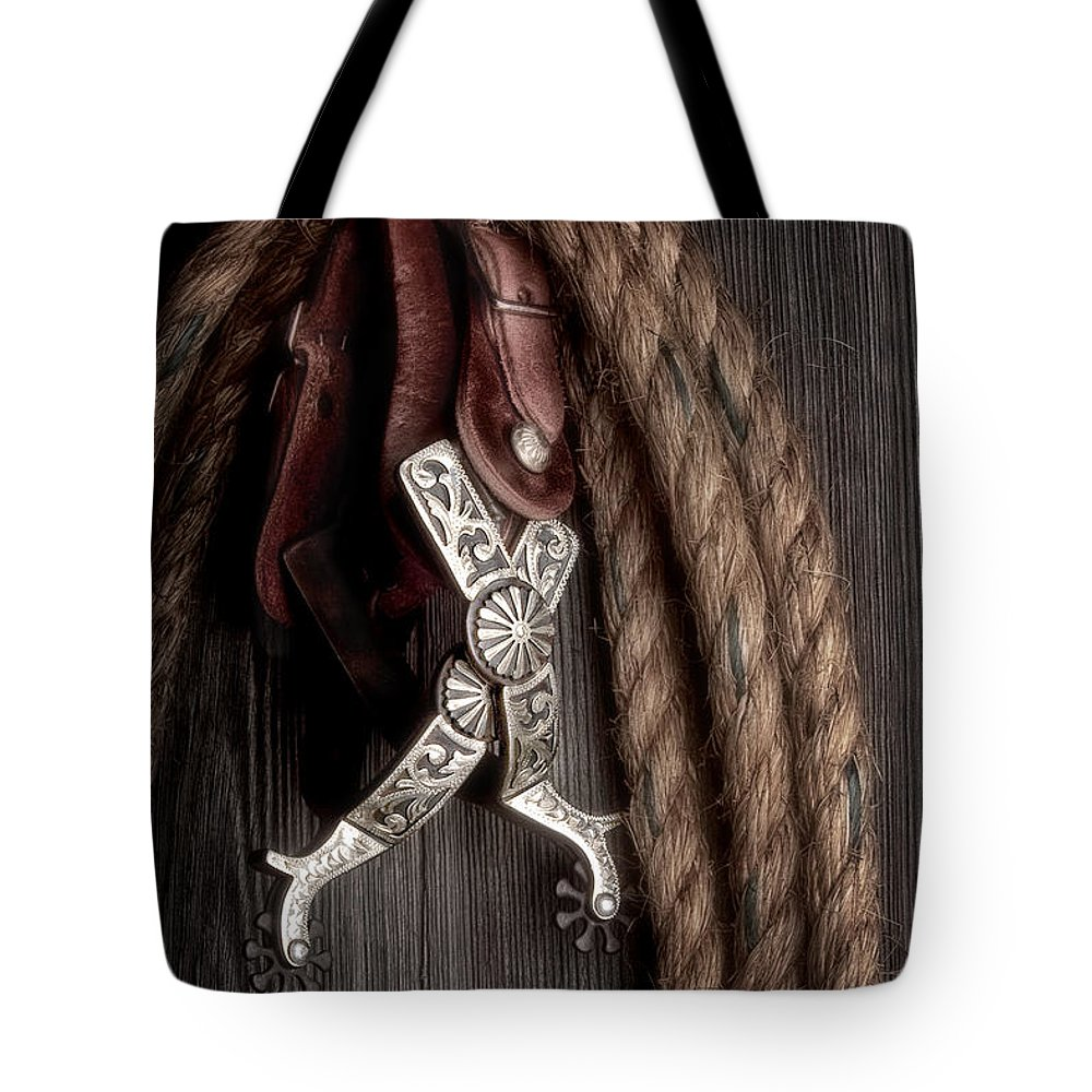 Spurs Tote Bag featuring the photograph Western Spurs - Revisited by Tom Mc Nemar