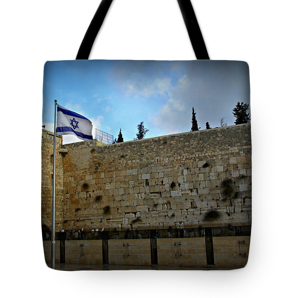 Jerusalem Tote Bag featuring the photograph Western Wall And Israeli Flag by Stephen Stookey