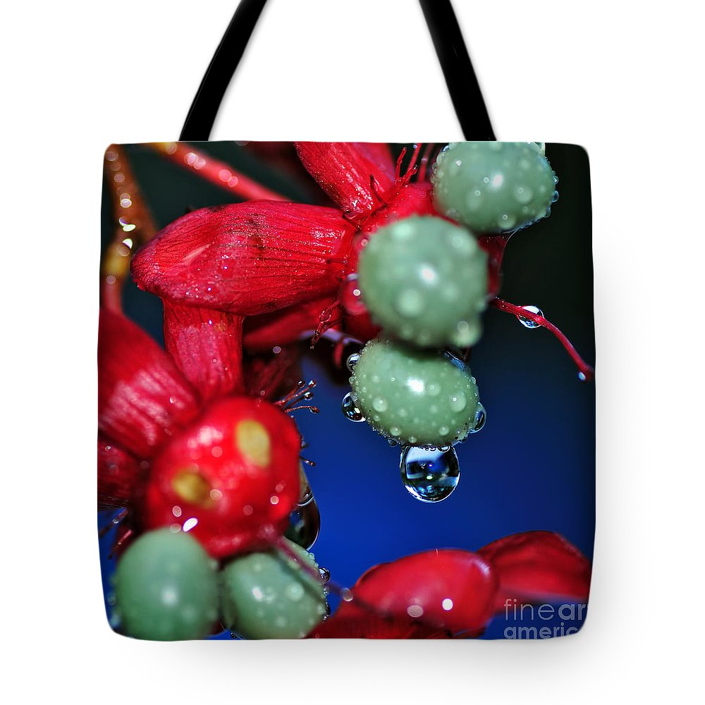 Photography Tote Bag featuring the photograph Wet Berries by Kaye Menner