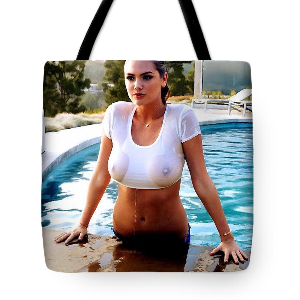 Digital Painting Tote Bag featuring the digital art Wet Girl by Gabriel T Toro