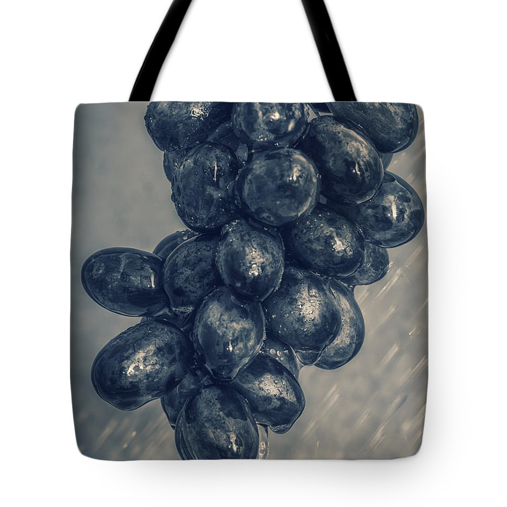 Rain Tote Bag featuring the photograph Wet Grapes Five by Bob Orsillo
