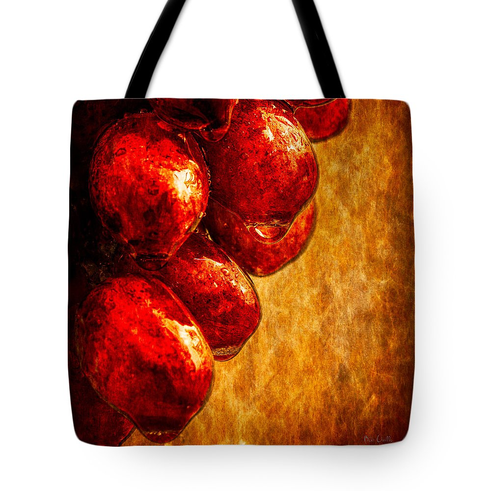 Rain Tote Bag featuring the photograph Wet Grapes Three by Bob Orsillo