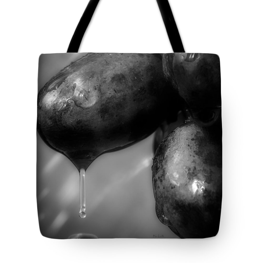Rain Tote Bag featuring the photograph Wet Grapes Two by Bob Orsillo