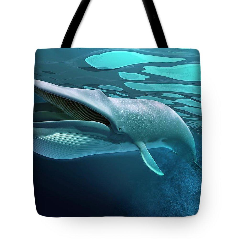 Underwater Tote Bag featuring the digital art Whale, Artwork by Leonello Calvetti