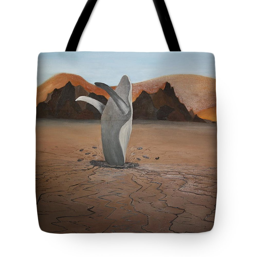 Whale Tote Bag featuring the painting Whale In Desert by Erin Nessler