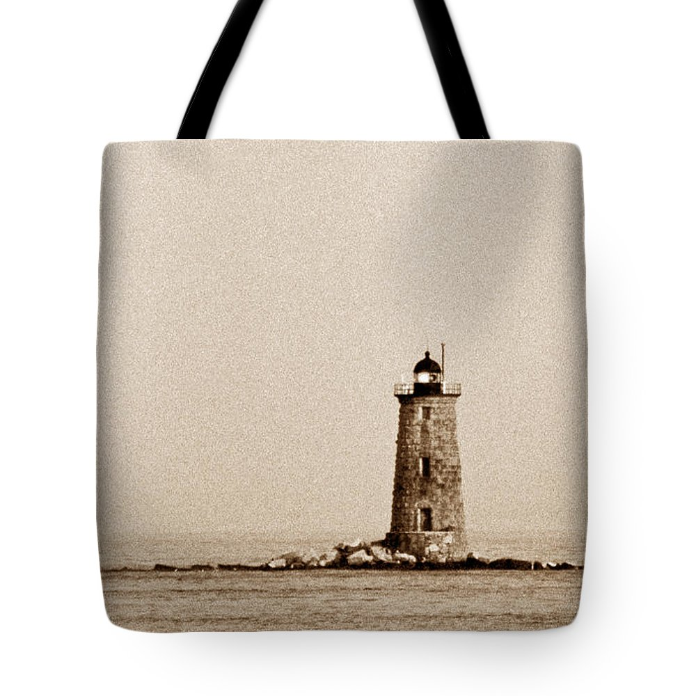 Lighthouses Tote Bag featuring the photograph Whaleback Lighthouse by Skip Willits