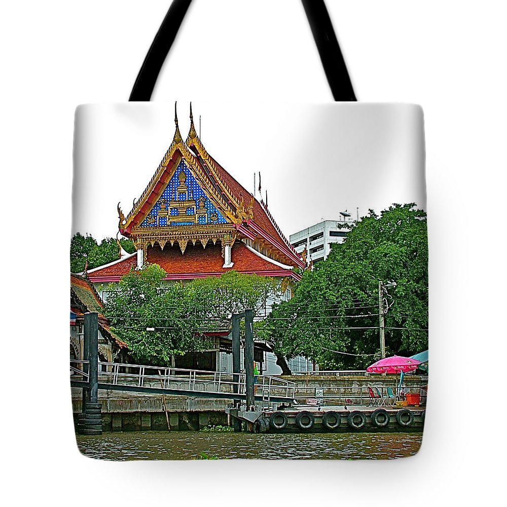 Wharf Along Waterway In Bangkok Tote Bag featuring the photograph Wharf Along Waterway Of Bangkok-thailand by Ruth Hager