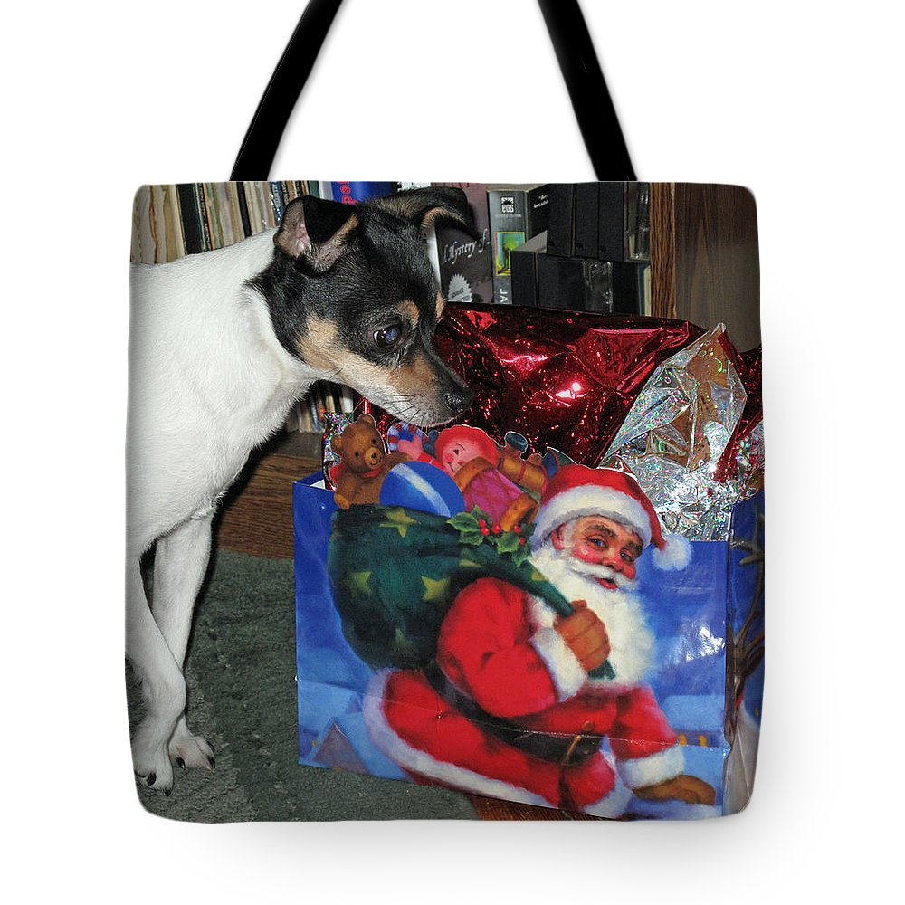 Dog Tote Bag featuring the photograph What Did Santa Bring Me by Barbara McDevitt