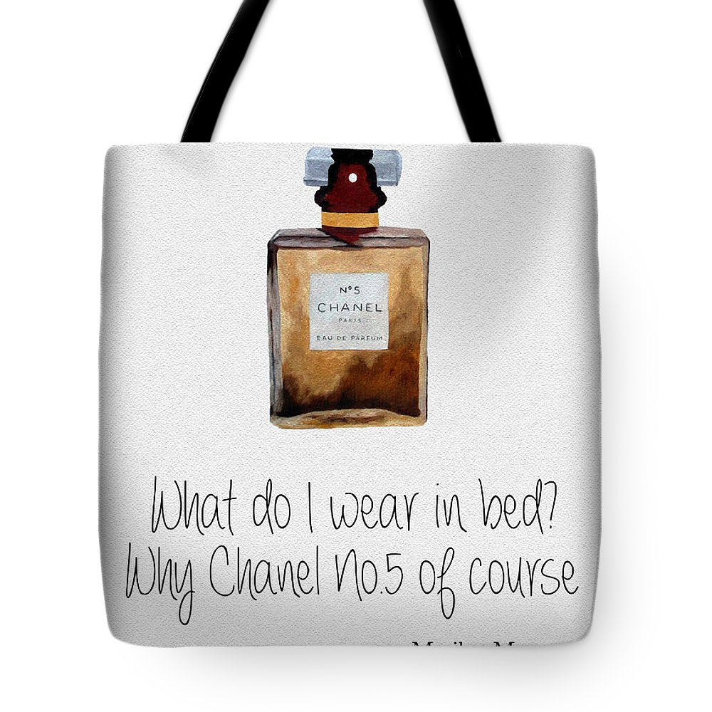 Chanel Tote Bag featuring the mixed media What Do I Wear In Bed? by My Inspiration