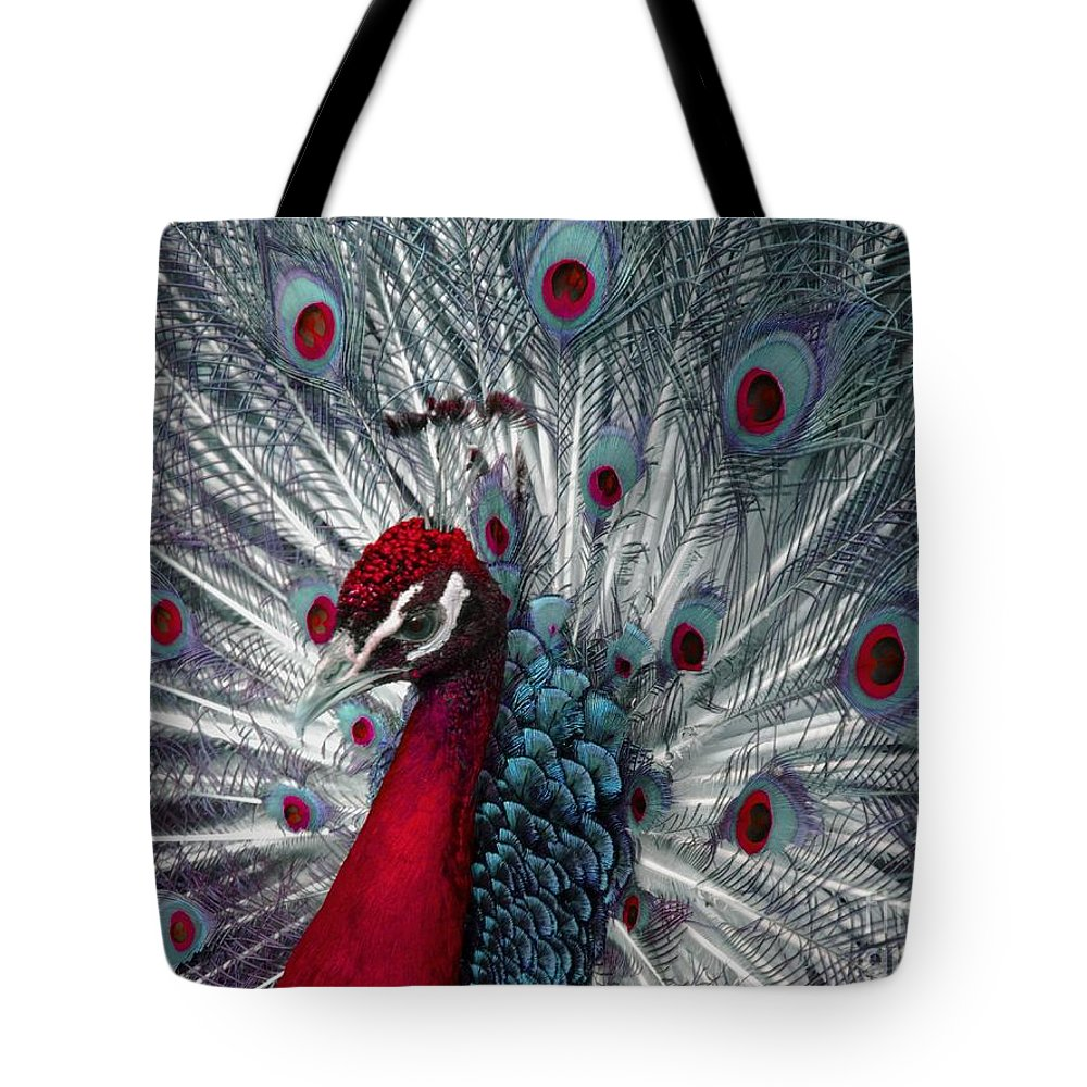 Peacock Tote Bag featuring the photograph What If - A Fanciful Peacock by Ann Horn