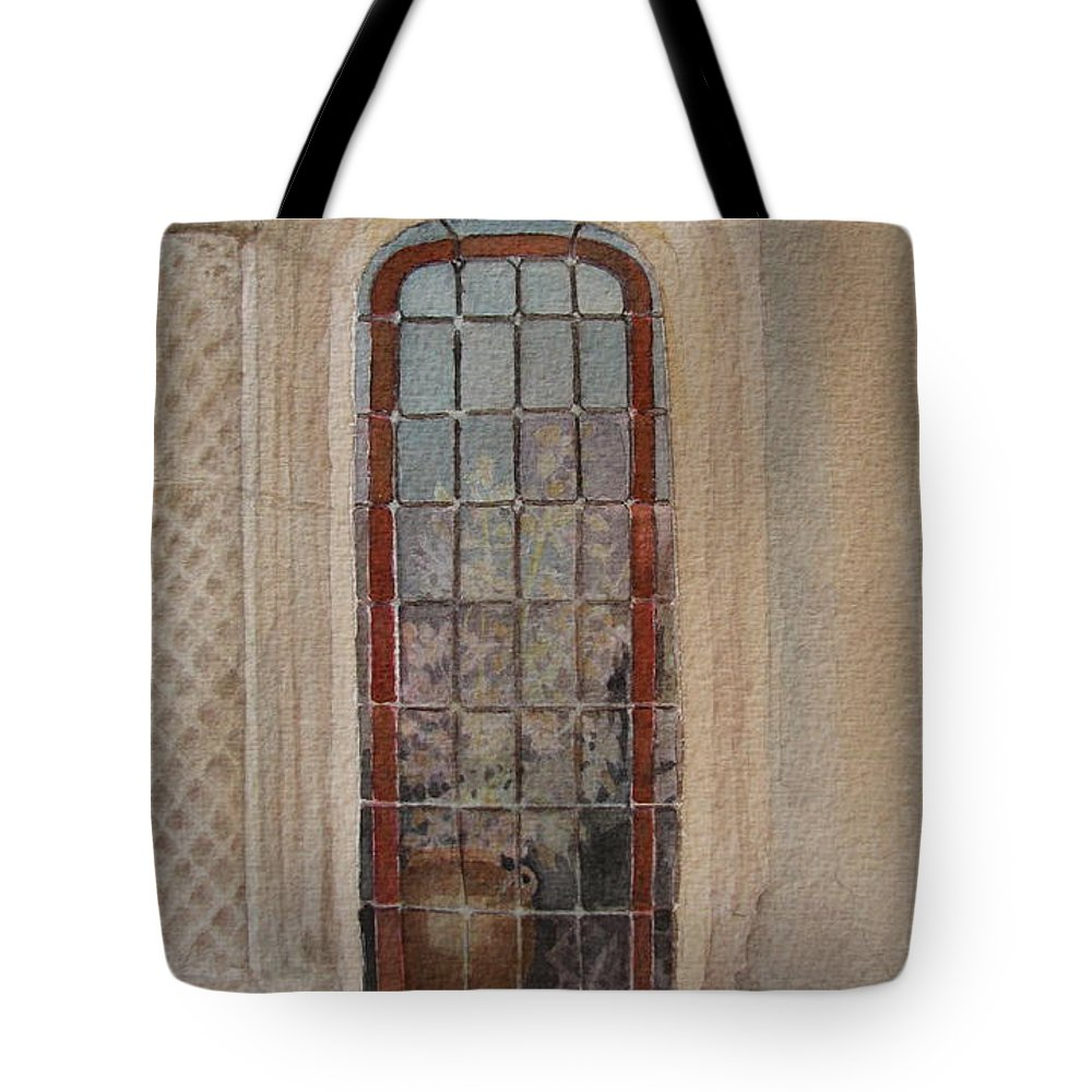 Window Tote Bag featuring the painting What Is Behind The Window Pane by Mary Ellen Mueller Legault