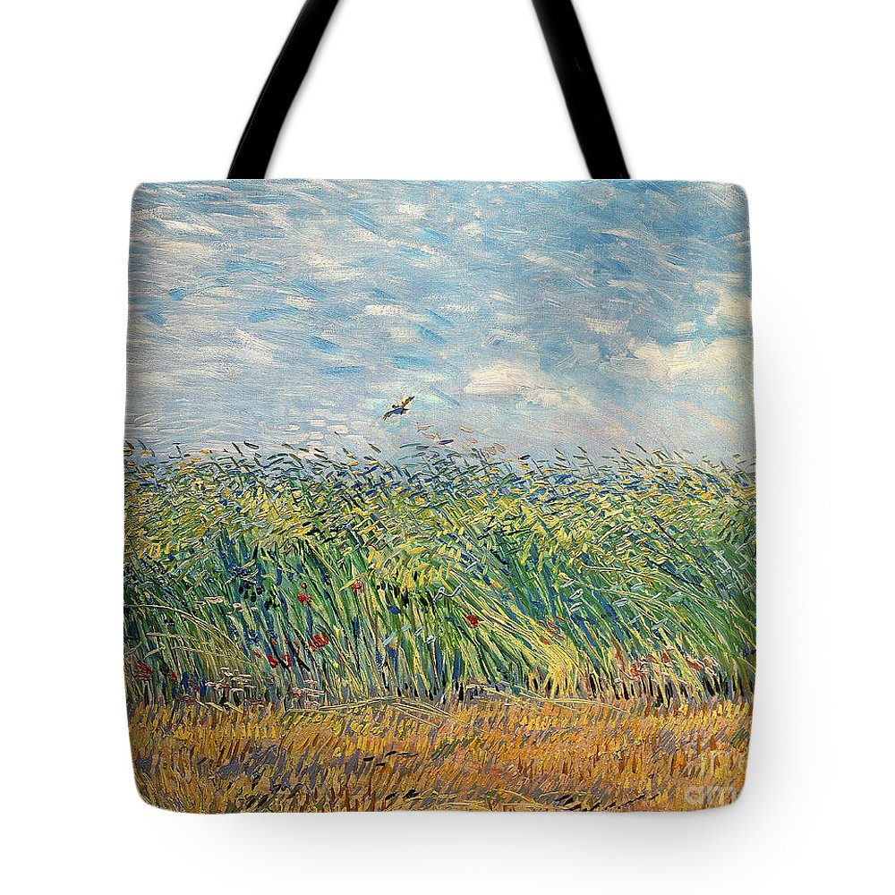 Post-impressionist Tote Bag featuring the painting Wheatfield with Lark by Vincent van Gogh