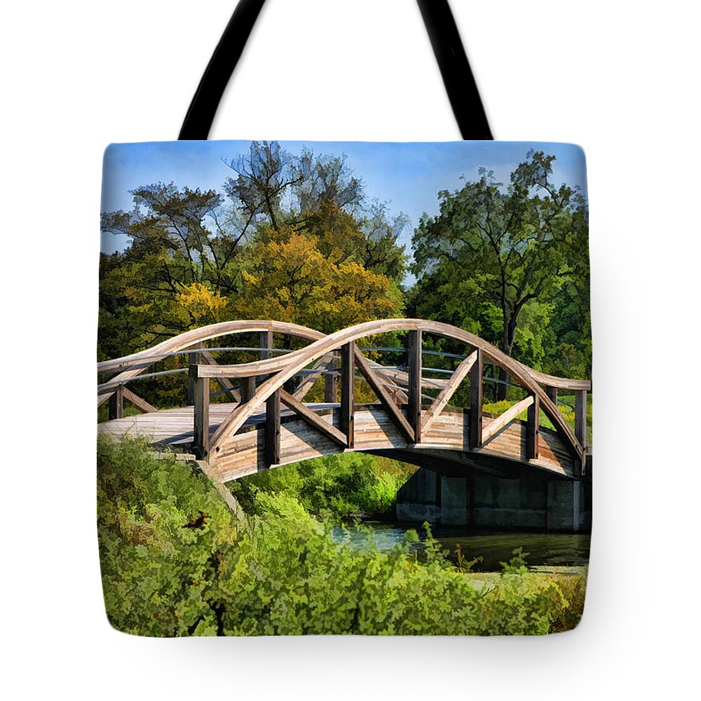 Wheaton Tote Bag featuring the painting Wheaton Northside Park Bridge by Christopher Arndt