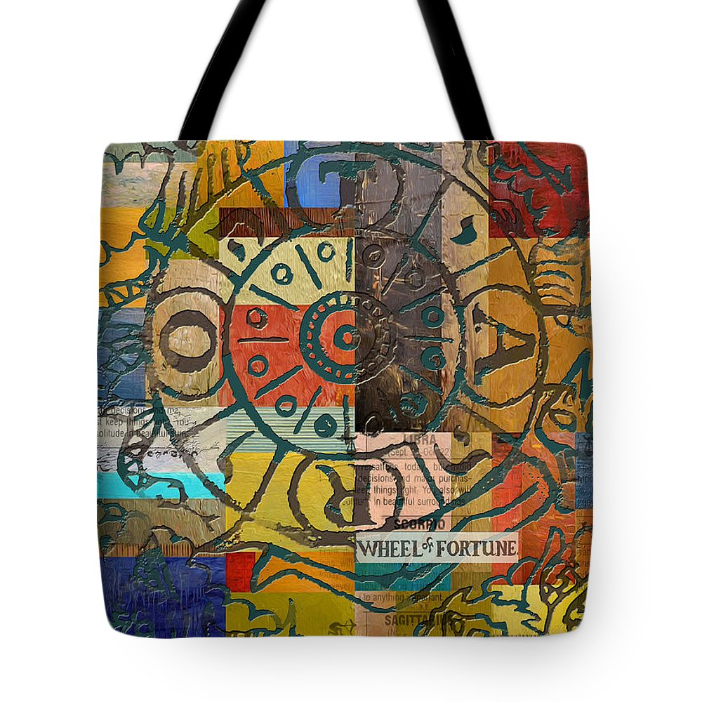 Tarot Tote Bag featuring the painting Wheel Of Fortune by Corporate Art Task Force