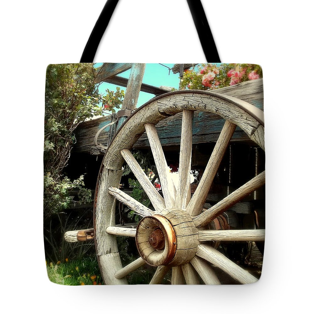 Garden Tote Bag featuring the photograph Wheels And Blooms by Glenn McCarthy Art and Photography