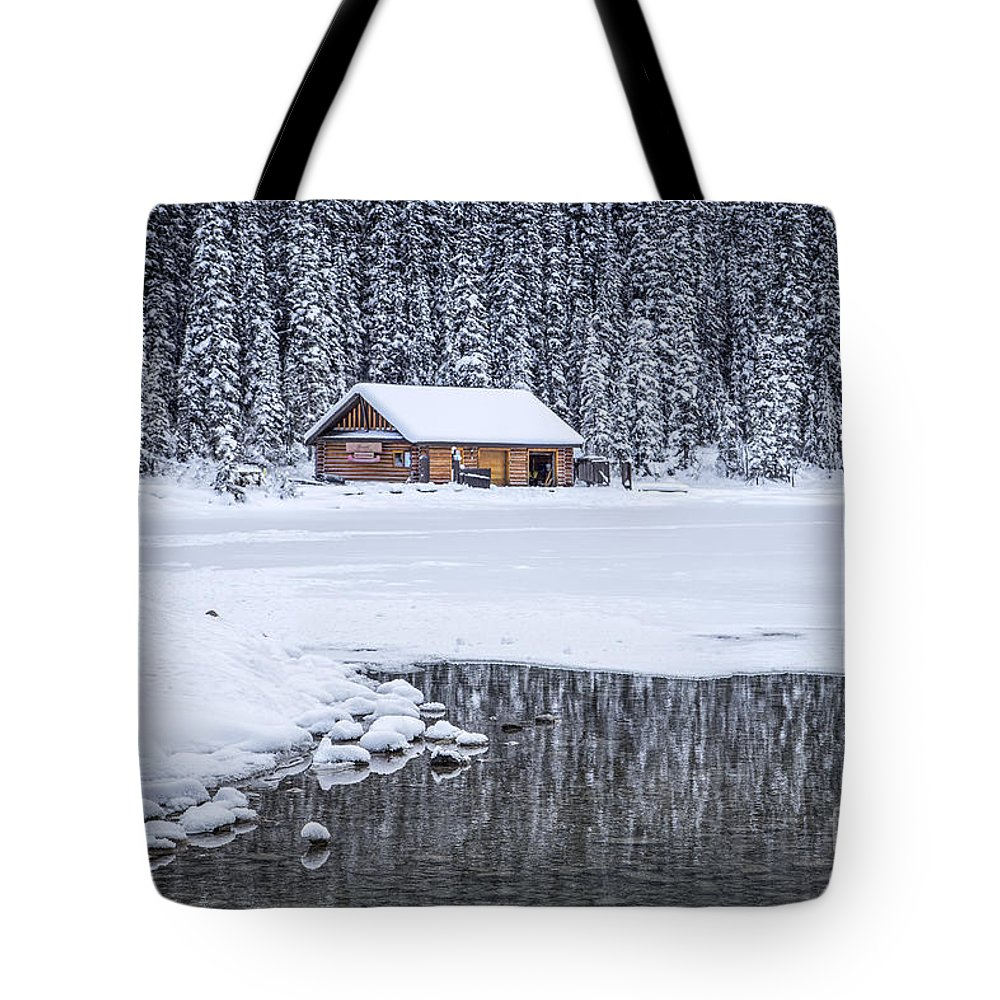 Lake Louise Tote Bag featuring the photograph When It Snows Outside by Evelina Kremsdorf