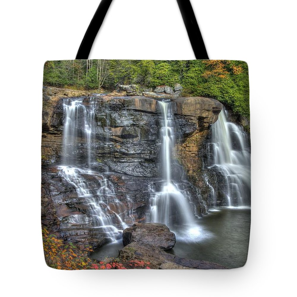 West Virginia Tote Bag featuring the photograph When Light And Water Falls-2a Three Cascades Over Blackwater Falls State Park Wv Autumn Mid-morning by Michael Mazaika