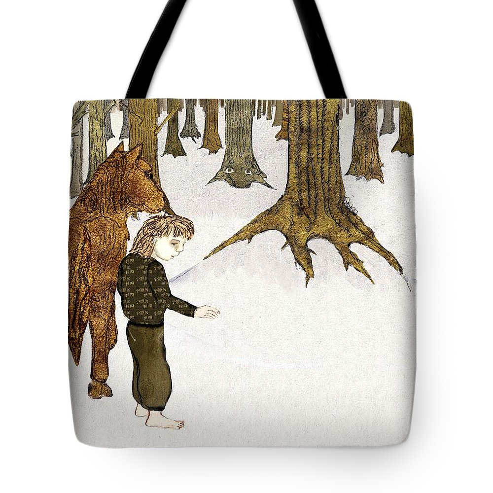 Trees Tote Bag featuring the mixed media Where Are You by Cynthia Richards