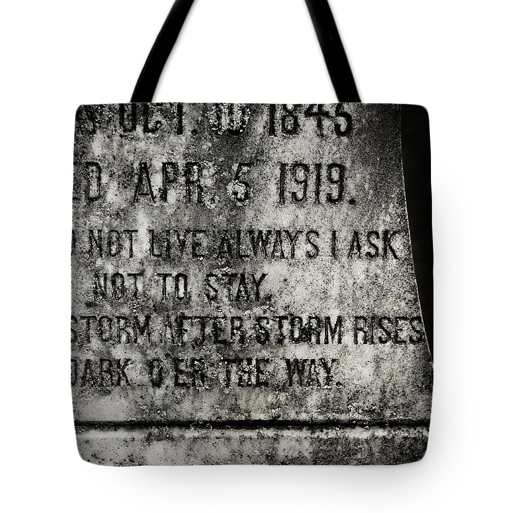 Gravestone Tote Bag featuring the photograph Where Dark Storms Rise by Rebecca Sherman