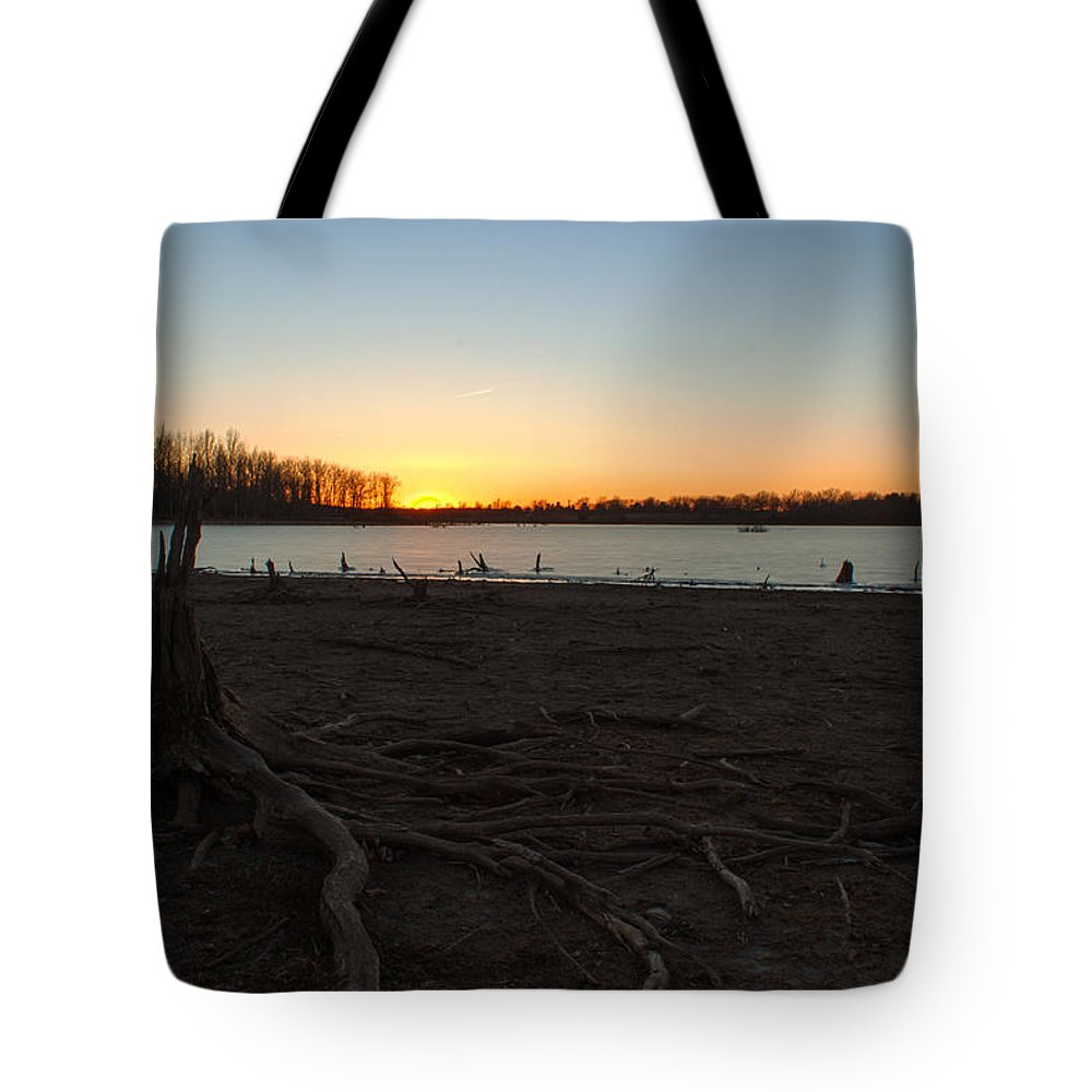 Ice Tote Bag featuring the photograph Where Did The Water Go by Thomas Sellberg