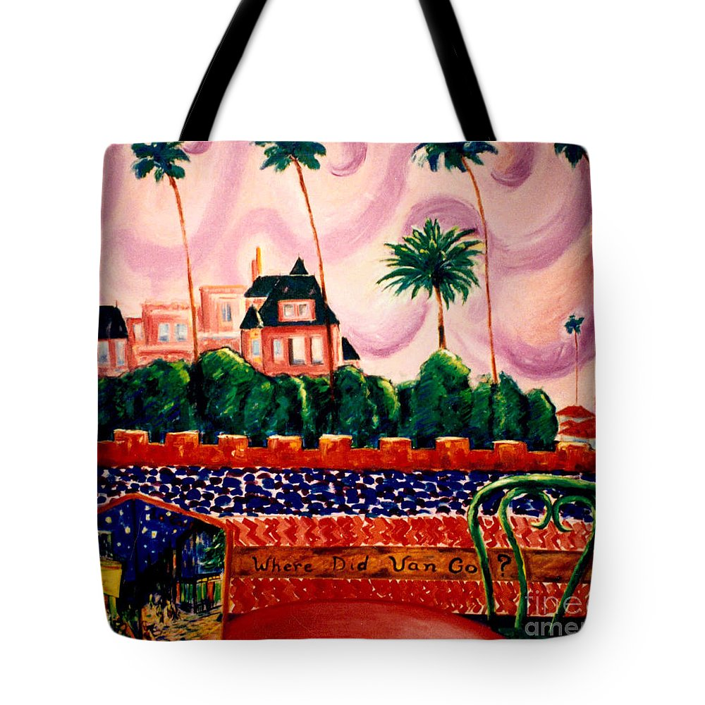 Art Tote Bag featuring the painting Where Did Van Go? by Karen Francis