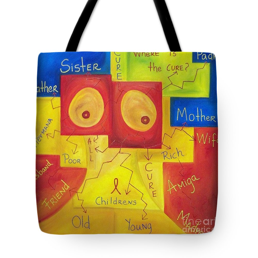 Breast Tote Bag featuring the painting Where Is The Cure by Zoe Vega Questell