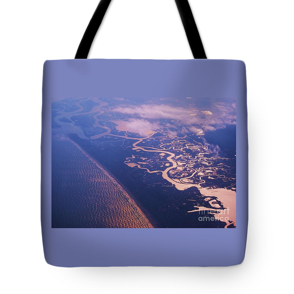 Aerial Art Landscape And Seascape Rivers North Carolina Estuaries Winding Rivers Evening Light Ocean Shoreline Travel Tranquil Nature Early Evening Lighting Metal Frame Canvas Print Wood Print Poster Print Available On Greeting Cards Shower Curtains T Shirts Mugs Tote Bags Phone Cases And Pouches Tote Bag featuring the photograph Where Rivers Meet The Sea by Marcus Dagan