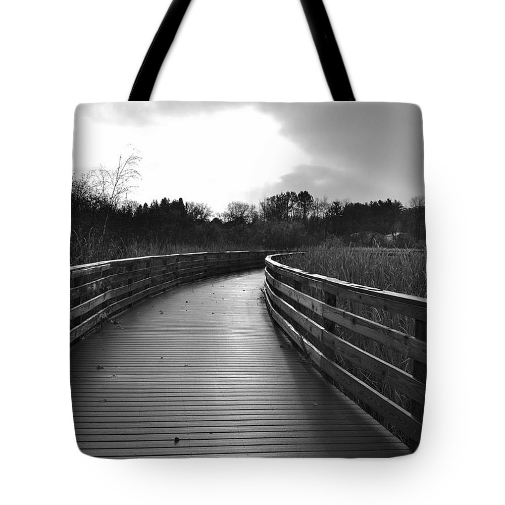 Black And White Tote Bag featuring the photograph Where The Path Leads You by Mandy Frank