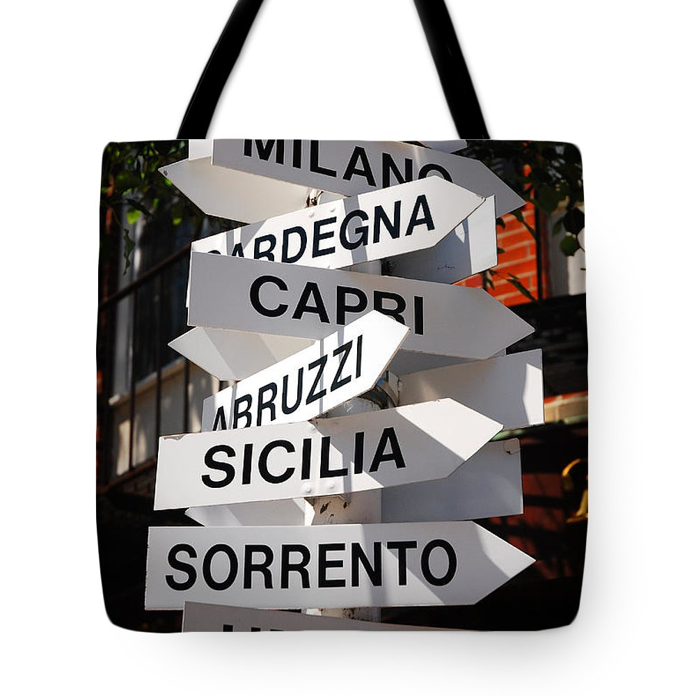Boston Tote Bag featuring the photograph Which Way To Italy by James Kirkikis