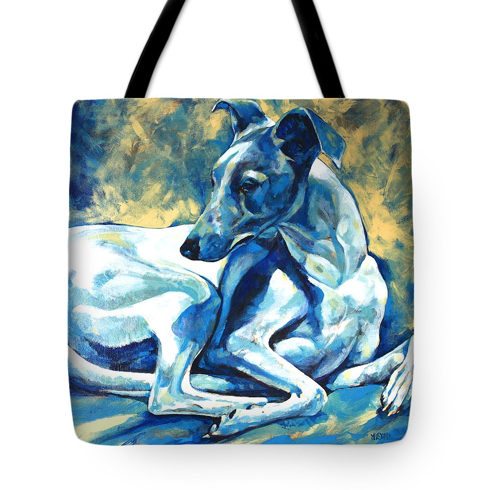 Whippet Paintings Tote Bag featuring the painting Whippet-effects Of Gravity 5 by Derrick Higgins