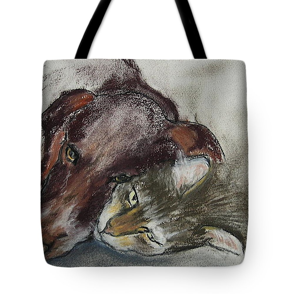 Dog Tote Bag featuring the drawing Whisker To Whisker by Cori Solomon