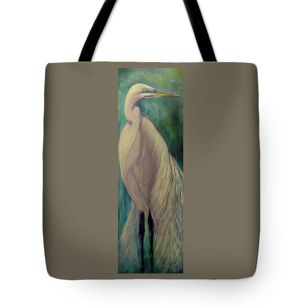 Egret Tote Bag featuring the painting Whisper Of White, Bird by Sandra Reeves
