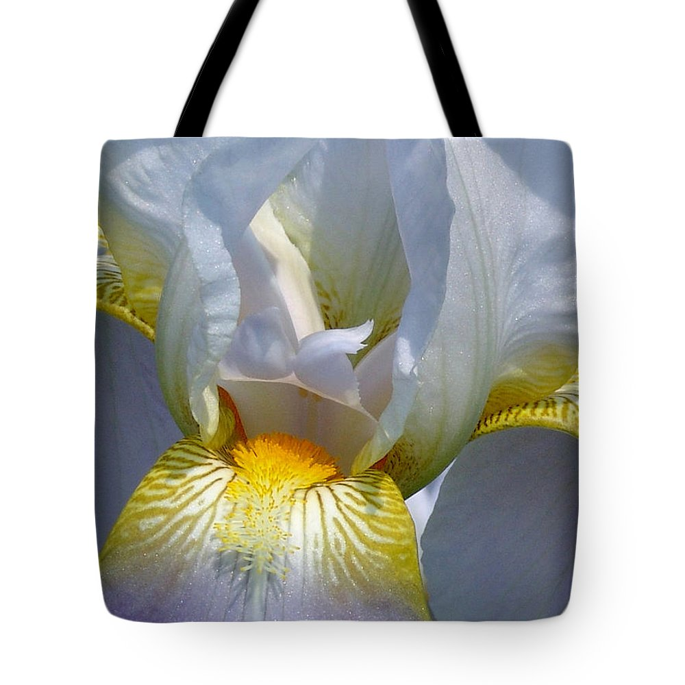 White Tote Bag featuring the photograph White And Yellow Iris by David Hohmann